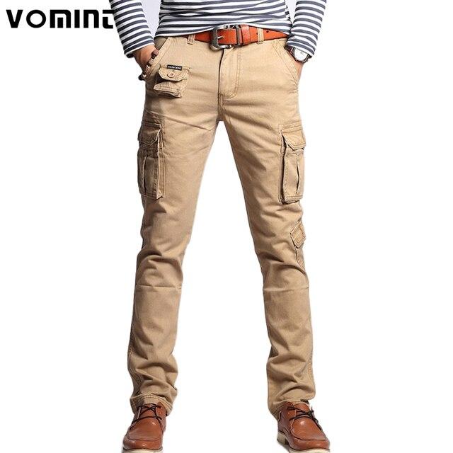 16c4de92c402 Vomint 2019 New Men Fashion Military Cargo Pants Slim Regualr Straight Fit  Cotton Multi Color Camouflage Green Yellow V7A1P015