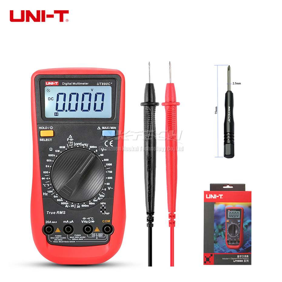 UNI-T Digital Multimeter UT890C+ UT890D Ammeter True RMS AC DC Volt Current Temperature Resistance Capacitance Frequency Tester цена