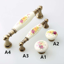 128mm rustico rural painting ceramic furniture handle bronze kitchen cabinet drawer knob 3.75″ antique brass dresser door handle