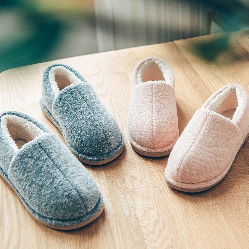 все цены на Christmas winter warm plush home flats shoes women indoor couple loafers cotton shoes EVA skidproof floor home shoes онлайн