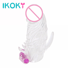 Realistic Dildo Extender Foreskin IKOKY Penis Sleeve Vibration Condom Cock Ring Reuseable Chastity Sex Toys For Men Male