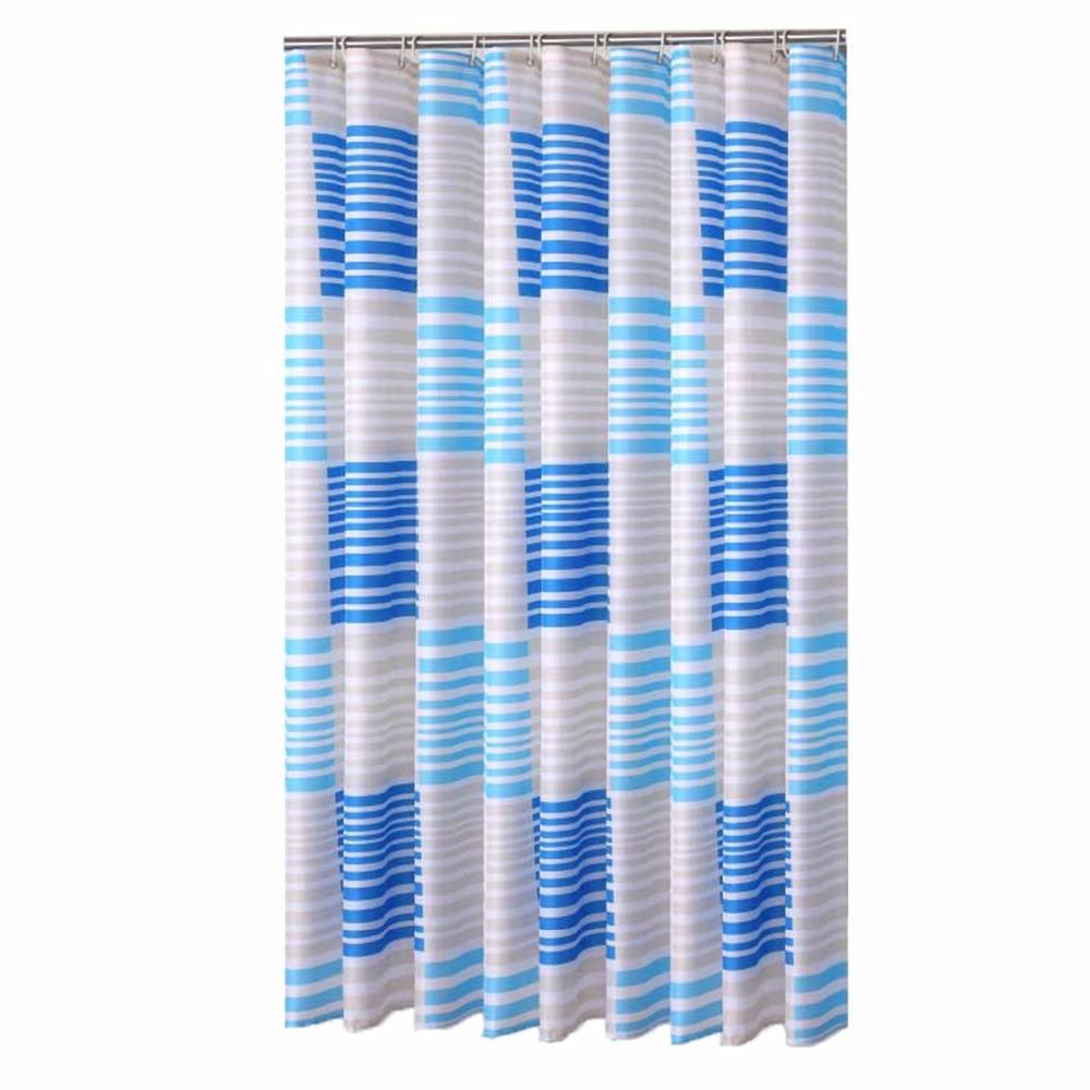Bathroom window curtains waterproof - Modern Blue Strip Designer Mildew Free Water Repellent Fabric Shower Curtain Liners Bathroom Polyester Waterproof Window Curtain