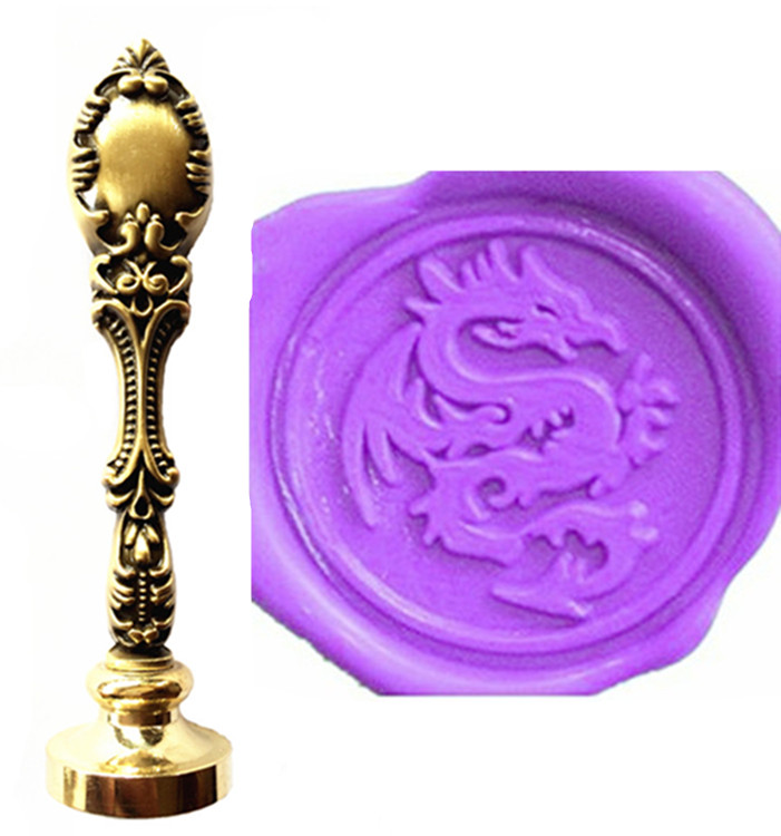 Vintage Dragon Personalized  Custom Picture Logo Luxury Wax Seal Sealing Stamp Brass Peacock Metal Handle Gift Set