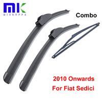 Kit Silicone Rubber Front And Rear Wiper Blades For Fiat Sedici Estate 2010 Onwards Windscreen Wipers