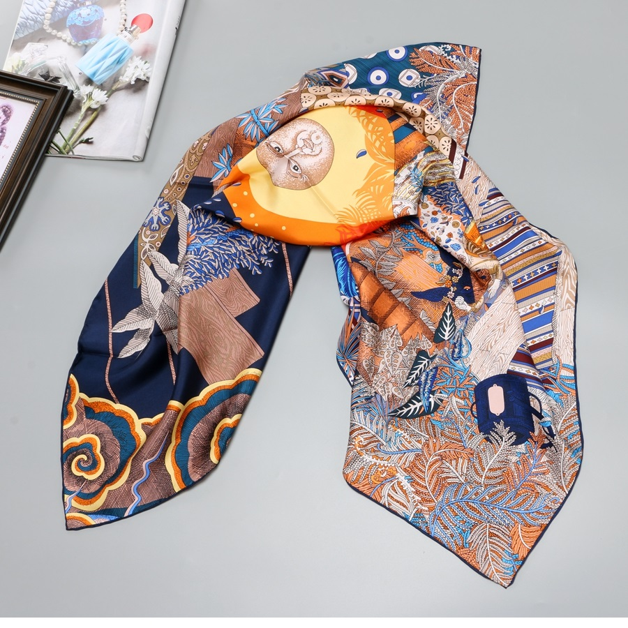 Hand Rolled Printed 100% Twill Silk Scarf Women Fashion Large Square Silk Shawl Hijab Head Scarves 88*88cm
