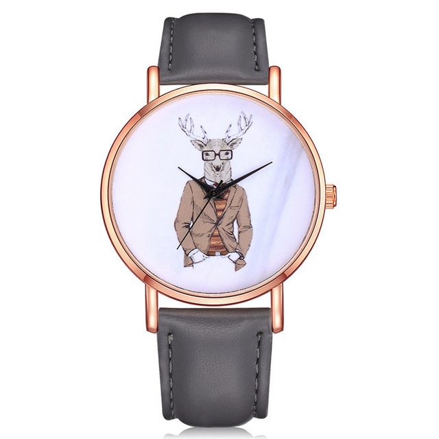 Fashion&Casual Quartz wristwatches Funny Pattern Leather Strap Bracelet Watches