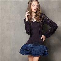 נשים בציר סוודר 70% כותנה + 30% צמר אלגנטי הארוך פאף שרוול סוודרי סוודרים לנשים Gradient סריגי סוודרים