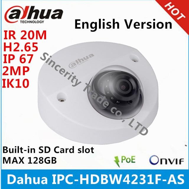 imágenes para Original IPC-HDBW4231F-AS Dahua IP Cámara de 2MP IP67 IK10 IR20m incorporado ranura para tarjeta SD MICRO Mini Cámara de Red Domo