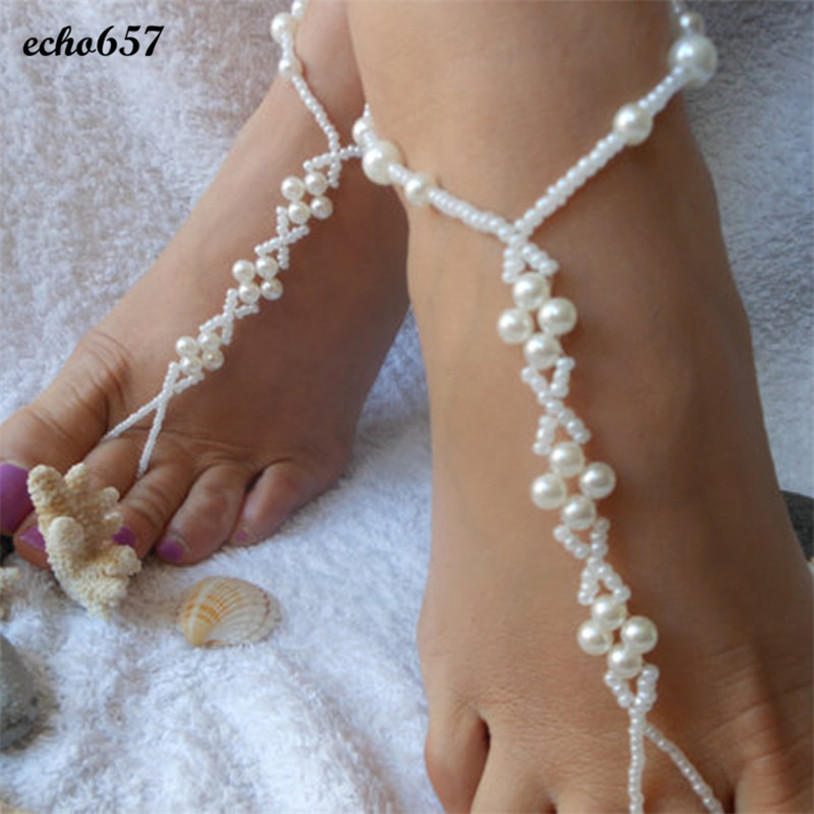 ee08b26f57f Echo657 Hot Sale Fashion Womens Imitation Pearl Beach Barefoot Sandal Foot  Jewelry Anklet Chain Oct 26