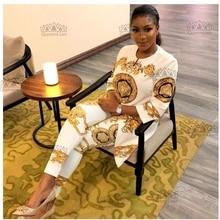 3 вида цветов(L-XXXL) Африканский принт эластичный Базен мешковатые штаны рок стиль Дашики рукав известный костюм для леди CPTZ01