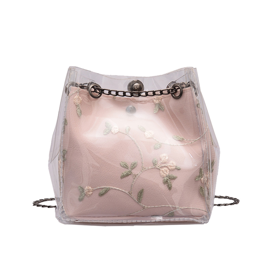 2 Piece/ Set Women Small Transparent Bucket Bags Chain Bag Totes Vine Embroidery Compound Mini Bag