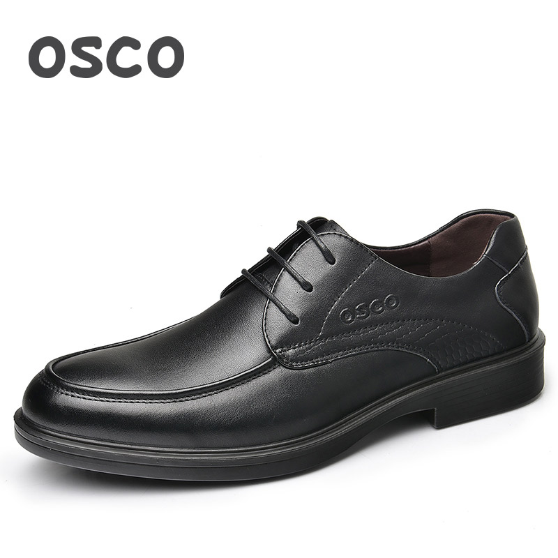 OSCO Men Shoes Spring New Shoes Male Genuine Leather Business Casual Shoes Comfortable Breathable Round Toe Office Dad Shoes osco men shoes spring autumn genuine leather business casual shoes round toe slip on comfortable low shoes office work shoes