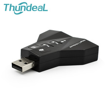 3D External USB 2.0 Audio 7.1 Sound Card Adapter Dual Virtual 7.1 Channel 3.5mm Headset Jack for PC Laptop WinXP/78 Linux MacOS