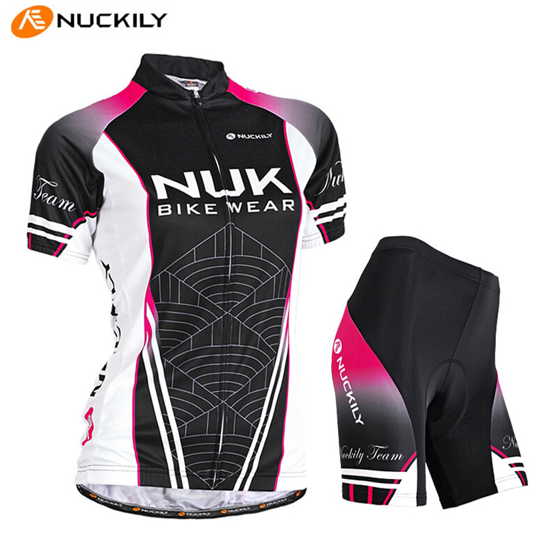 NUCKILY Pro Cycling Jersey Summer Women Short-sleeve T-shirt Shorts Set Female Outdoor MTB Riding Bike Bicycle Cycling Jersey