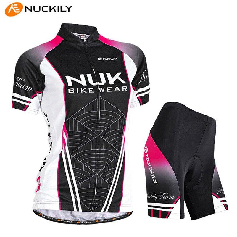 Nuckily Pro Велоспорт Джерси лето Для женщин с коротким рукавом футболки Шорты для женщин комплект Открытый MTB езда на велосипеде Велосипедный С...