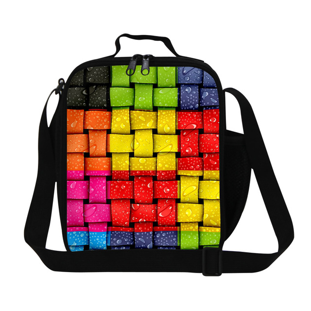 New Colorful Cell Splice 3D Print Children Lunch Bags Adults Work Lunch Container For Men Students Food Bag For Teenagers Girls
