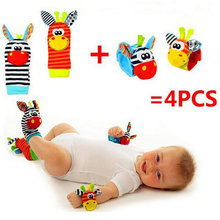 Free shipping (4pcs=2 pcs waist+2 pcs socks)/lot,baby rattle toys Garden Bug Wrist Rattle and Foot Socks(China)