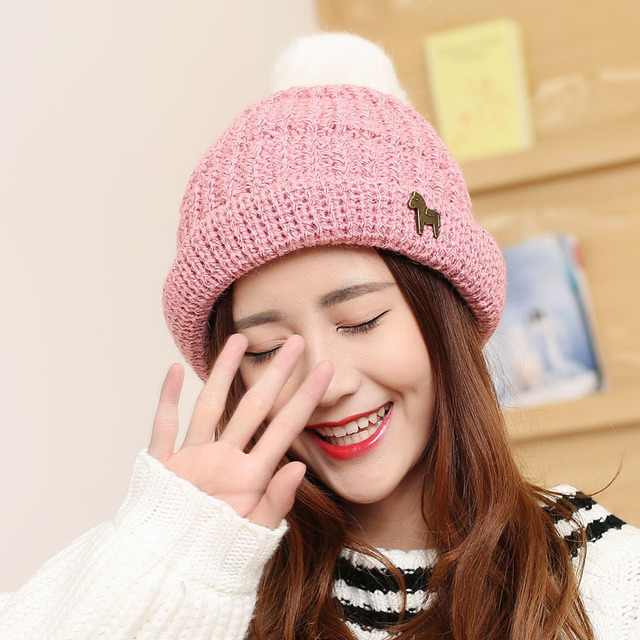 Tide autumn and winter women 's hair ball knit cap Small vest thick warm women  cold hat
