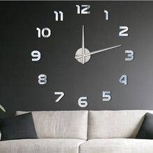 Luxury Modern DIY Large Wall Clock 3D Mirror Surface Sticker Home Office Decor perfect diy 3d art wall clock decals breaking cracking wall clock sticker office home wall decor gift 15 x15