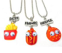 Best Friend Forever BFF pendant bead chain charm necklace fast food cute lovely chips hot dog
