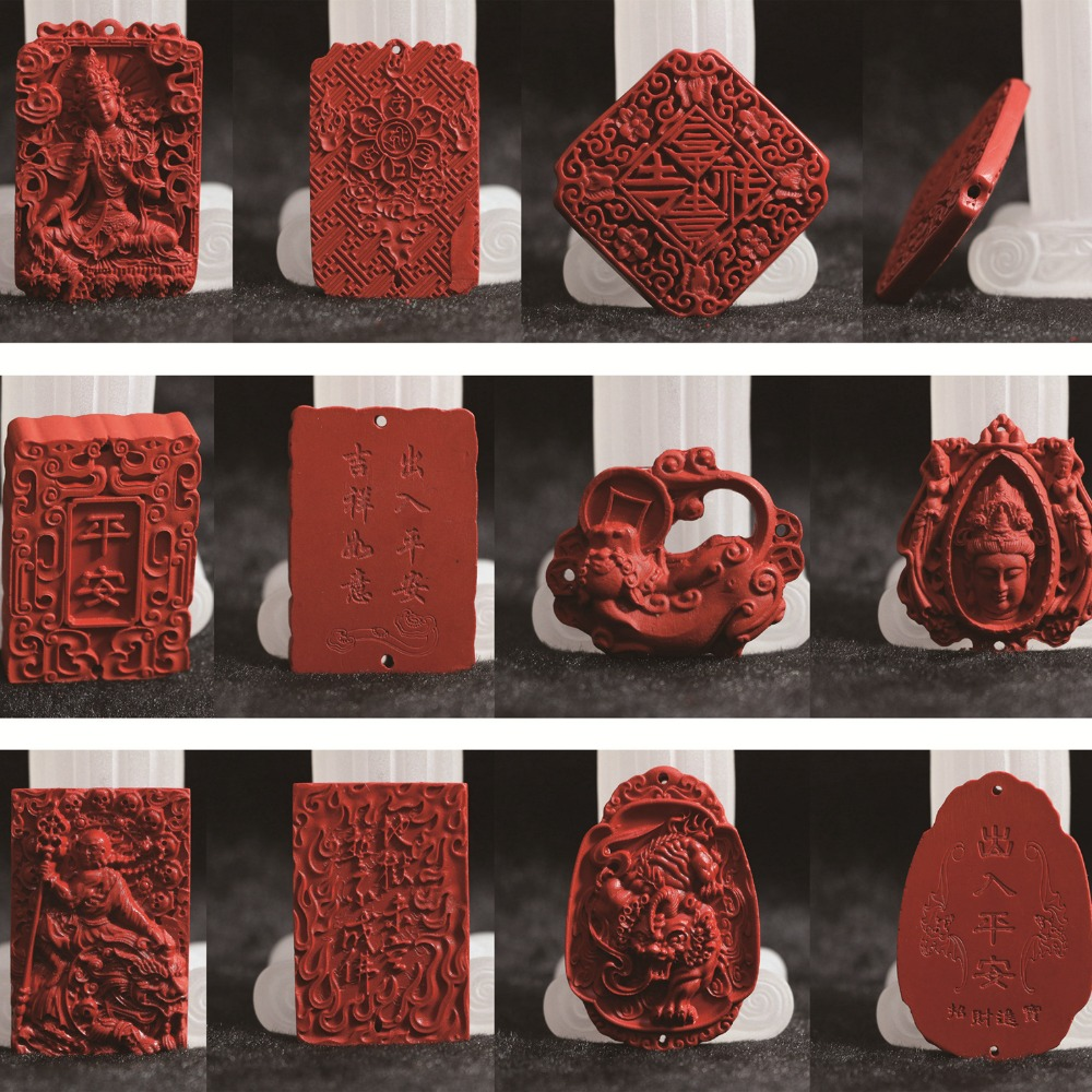 synthetic red cinnabar carved pictures blessing Lucky Pendants diy high grade vintage unisex jewelry making B813
