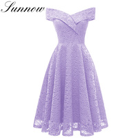 SUNNOW Midi Dress for Women Lace Wedding Party Dresses Midi Slash Neck Short Sleeve Elegant Slim Evening Vintage Dress Vestidos