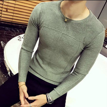 Autumn winter Warm Wool Sweaters men's black Slim fashion trend cardigan Pullover men sweater Solid Color Casual O-Neck Clothing