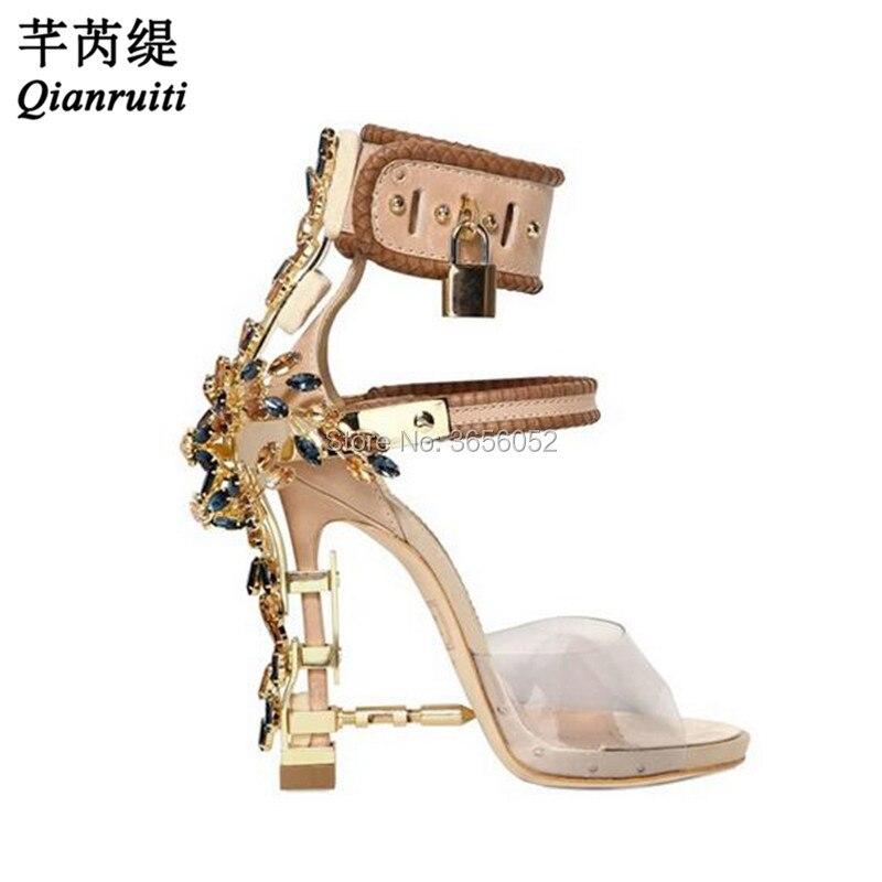 Gladiator Crystal rhinestone Embellished PVC Sandals women Spiked metal  Padlock high Heels runway Ankle strap wedding Shoes 387a51dfbffb