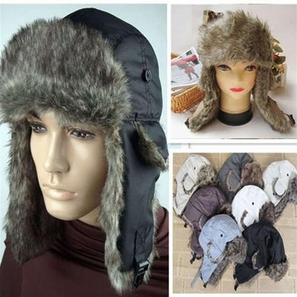 2019 Handmade Thicken Warm Earflap Mask Unisex Snow Ski Trapper Aviator Trooper Faux Fur Plush Button Hat Cap Harajuku Winter
