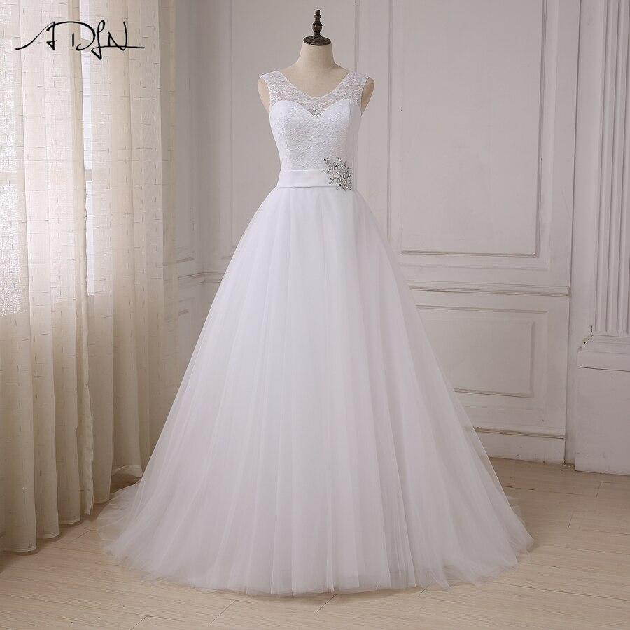 ADLN Custom Top Lace Wedding Dresses 2019 Cap Sleeve Wedding Gowns Tulle A line vestidos de