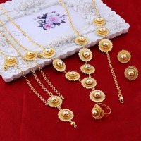 New Arrival Jewelry Ethiopian Gold Pendant Necklace Earrings Ring Hairpin Hair Chain Bridal Wedding Eritrea Habesha