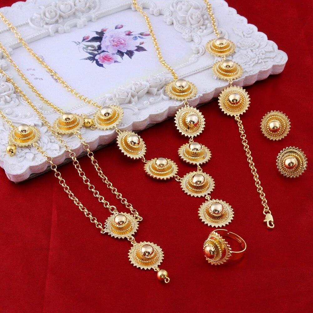 Nouveauté bijoux éthiopien or pendentif collier boucles d'oreilles anneau épingle à cheveux chaîne de mariée mariage érythrée Habesha