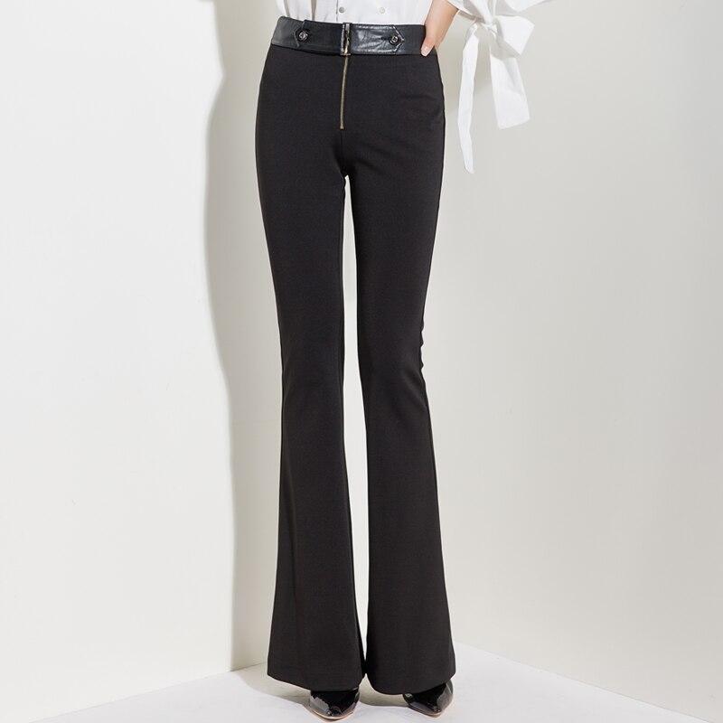 Pantalones Costura Cintura Y Cremallera Original Acrmrac Casuales Primavera Ancha Alta Pierna Otoño Negro De Mujeres 4qSF4Px0n7