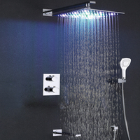 Bathroom Rain Shower Set Thermostat Bath Shower Faucet Valve Chrome Shower System Panel Brass Rainfall Colors LED Shower Head