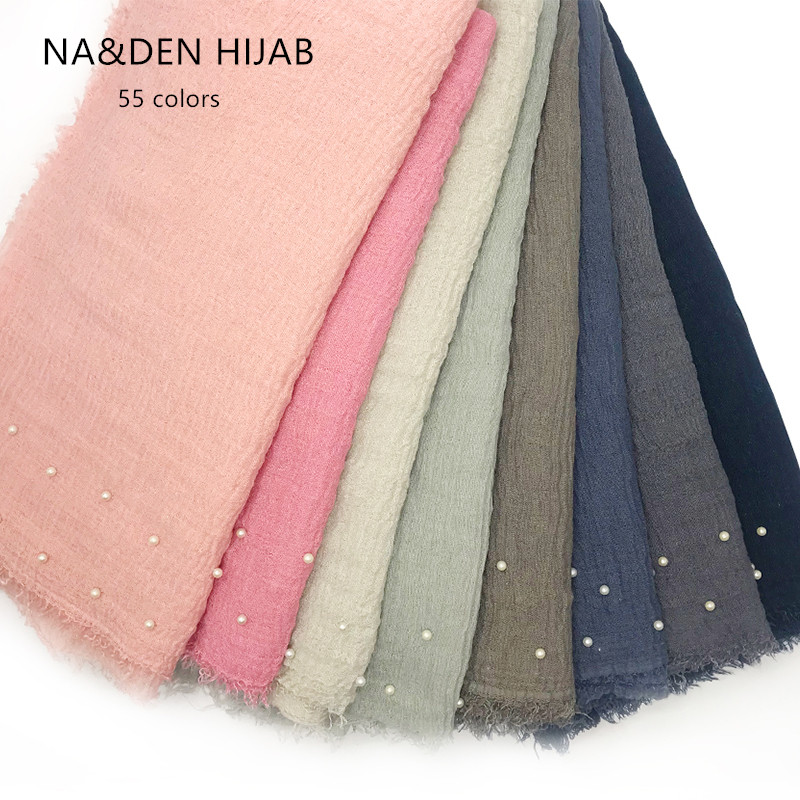 55 colors fringed with pearl pure color Muslim hijab foulard solid viscose women scarves echarpe shaws