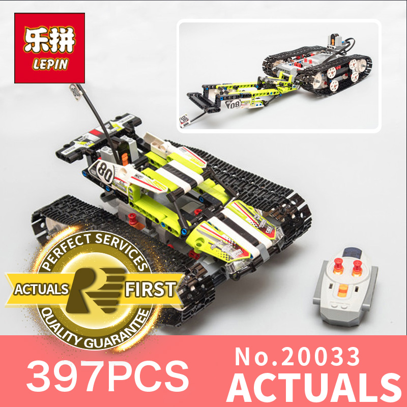 397Pcs Lepin 20033 Technic Series The RC Track Remote-control Race Car Set Building Blocks Bricks for Educational toy 42065 glow race track bend flex glow in the dark assembly toy 112 160 256 300pcs slot race track 1pc led car puzzle educational toys