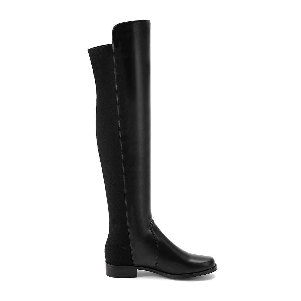 Botas 1 De Mujeres 43 34 Zapatos Calzado Sarairis Add Bajo Gran Plataforma Fur Mujer Piel Tacón Motocicleta black Negro Tamaño Invierno AwEdwxqRt