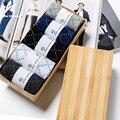 2017 Hombres Calcetines de Algodón 5 Pairs Otoño Invierno Moda Rhombus Plaid Imprimir Color Sólido Cómodo Calcetín Marca Hombres de Negocios LW254