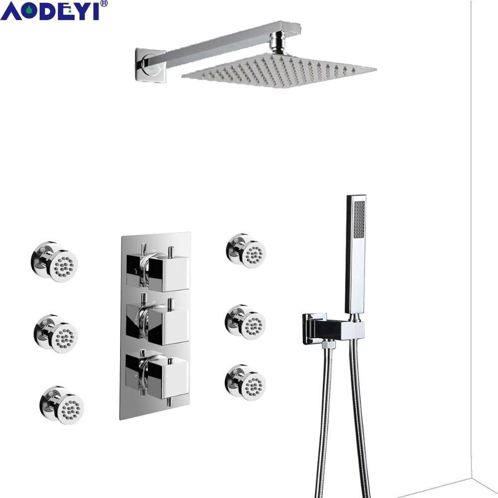 AODEYI thermostatique salle de bains mélangeur de pluie Combo ensemble mural système de tête de douche Chrome poli robinet de douche à main 16-117