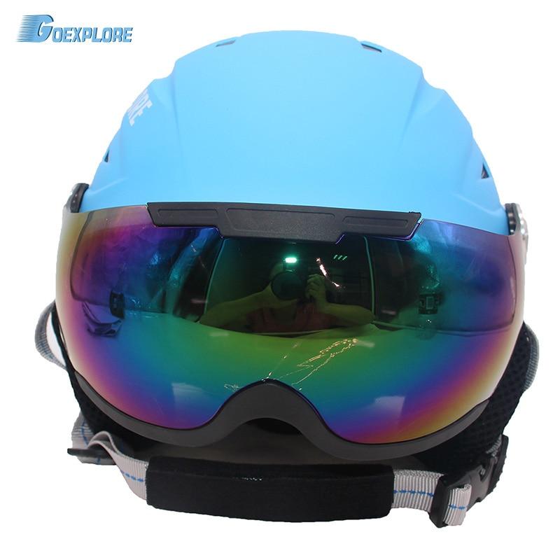 все цены на Goexplore Snow Helmet with PC Goggles men women Children Integrally molded EPS CE Certification Safety Skiing Skating Ski Helmet