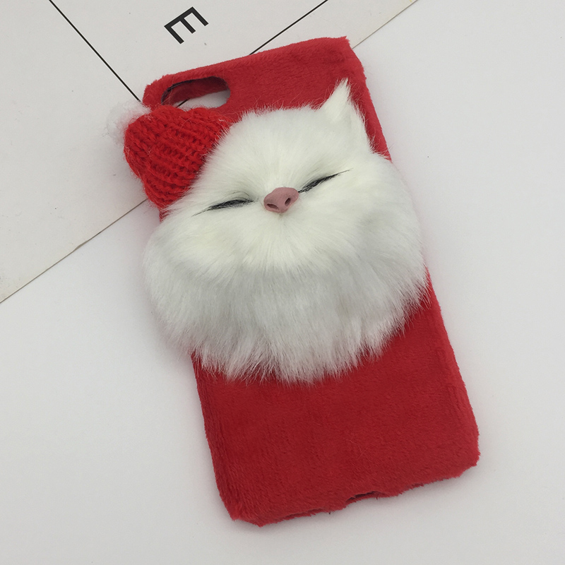 Christmas Hat Cute Cat Fluffy Fur Phone Case For iPhone X XS Max XR DIY Lovely Plush Hair Cover For iPhone 8 7 6s 6 Plus Coque (4)