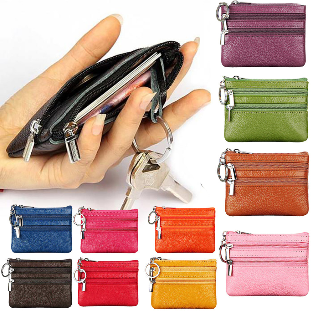 Womens Leather Kiss Lock Double-Sided Colorful Fish Scales Coin Purse Wallets