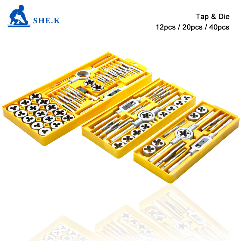 SHE.K Tap and Die Set M3-M12 Screw Thread Metric Plugs Taps & Tap Wrench 12pcs 20pcs 40pcs Alloy Steel Metric Tap Die Tools sets new bluetooth wireless laser barcode scanner rechargeable handheld cordless bar code reader for pos inventory qjy99