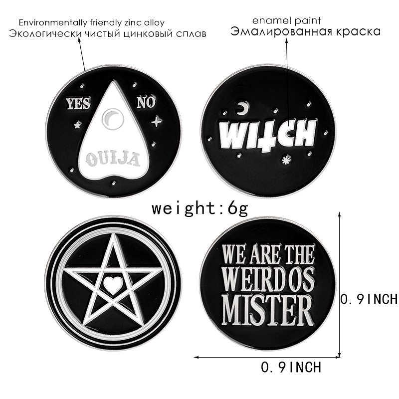 Hitam Sepanjang Enamel Tombol Jarum Penyihir, Ouija, Aneh, pentagram Kelapak Bros Witch Wizard Sihir Wiccan Perhiasan untuk Hadiah
