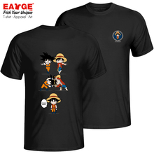 An Impossible Fusion Between Monkey Luffy And Goku T Shirt Brand Fashion Active T-shirt Funny Punk Style Unisex Black Cotton Tee
