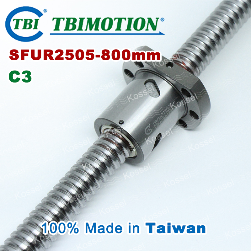 TBI 2505 C3 800mm ball screw with SFU2505 5mm lead screw nut of SFU set end machine for high precision CNC kit горелка tbi 240 3 м esg