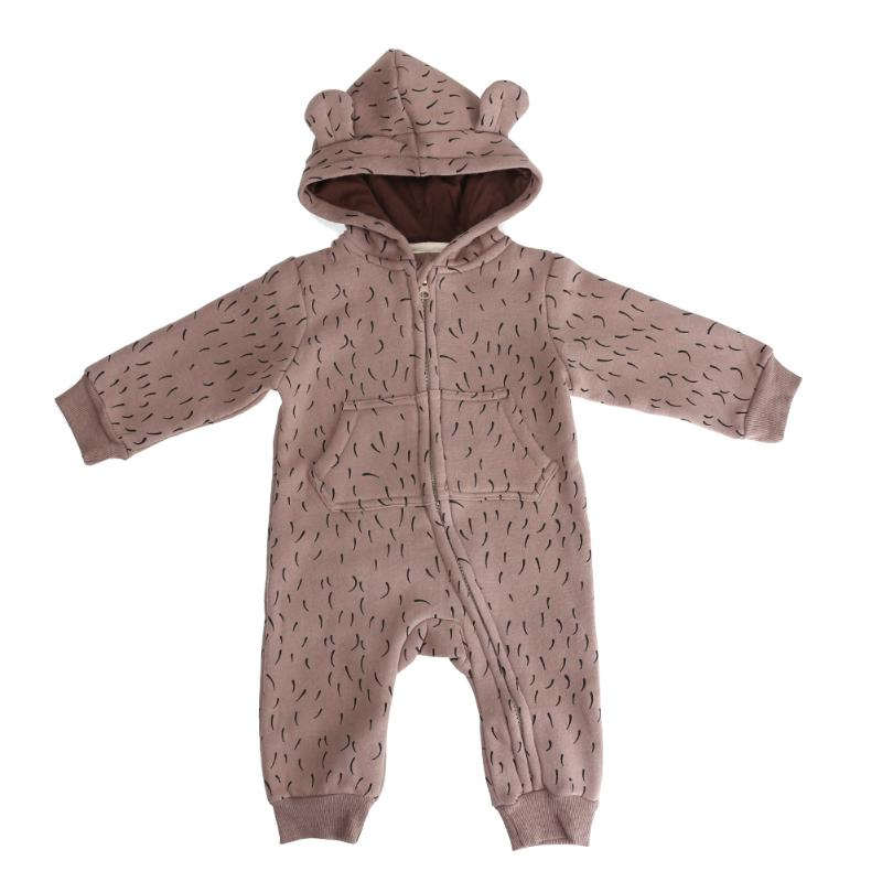 2017 Autumn Warm Baby Romper Cute Newborn Cartoon Printed Long Sleeve Hooded Fleece Jumpsuit Infant One Piece Coat Boys Clothes warm thicken baby rompers long sleeve organic cotton autumn