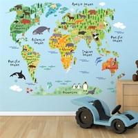 Calcomanías de mapa del mundo de los animales de dibujos animados para niños, adhesivos de pared de pvc para decoración de habitaciones, oficina y hogar, arte mural diy, 037