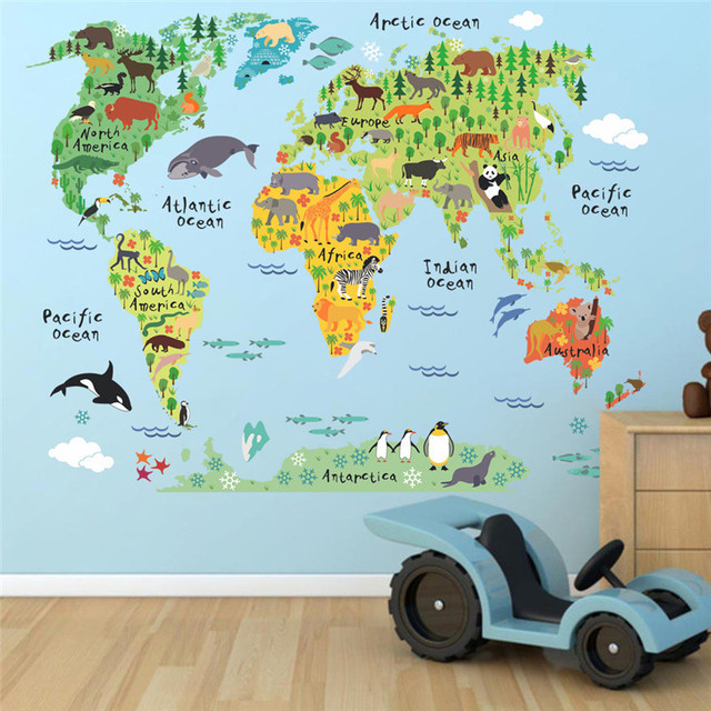 New Cartoon Animals World Map Wall Decals For Kids Rooms Office - World map wallpaper decal