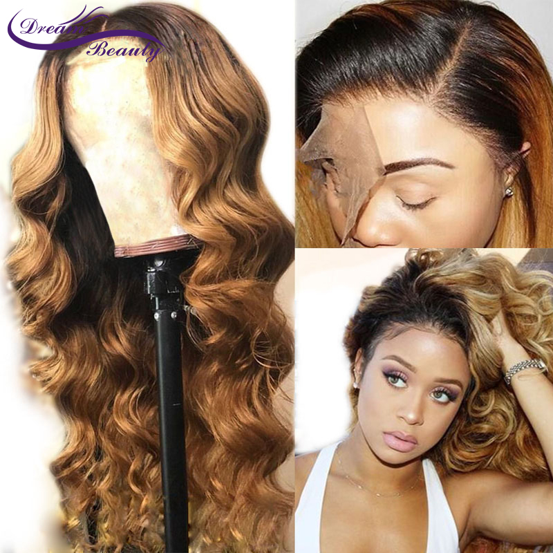 Human-Hair-Wig Honey Blonde Dark-Roots Beauty Colored Ombre 13x6lace 180-Density Front